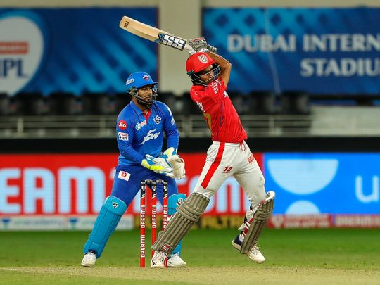 Deepak Hooda of Kings XI Punjab plays a shot.