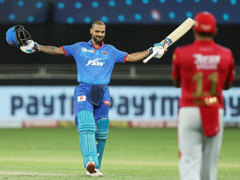 Shikhar Dhawan of Delhi Capitals celebrates hiscentury.