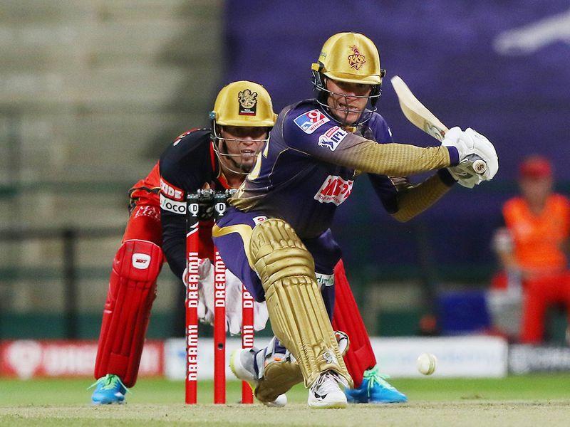 Eoin Morgan, captain of Kolkata Knight Riders, plays a shot.