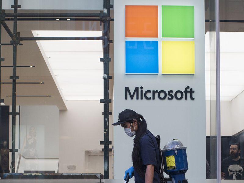 Microsoft sales grow on cloud strength, but shares dip