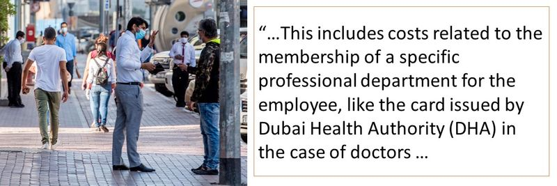 """""""This includes costs related to the membership of a specific professional department for the employee, like the card issued by Dubai Health Authority (DHA) in the case of doctors."""