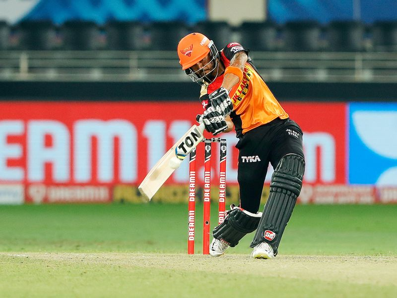 Manish Pandey of Sunrisers Hyderabad plays a shot.