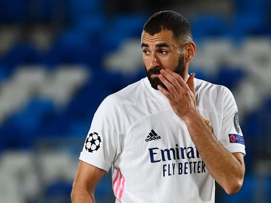 Real Madrid's French forward Karim Benzema during the defeat to Shakhtar Donetsk