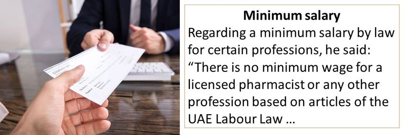 """Regarding a minimum salary by law for certain professions, he said: """"There is no minimum wage for a licensed pharmacist or any other profession based on articles of the UAE Labour Law …"""