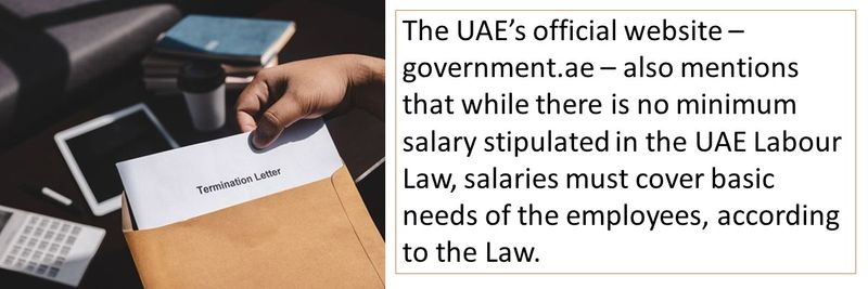 The UAE's official website – government.ae – also mentions that while there is no minimum salary stipulated in the UAE Labour Law, salaries must cover basic needs of the employees, according to the Law.