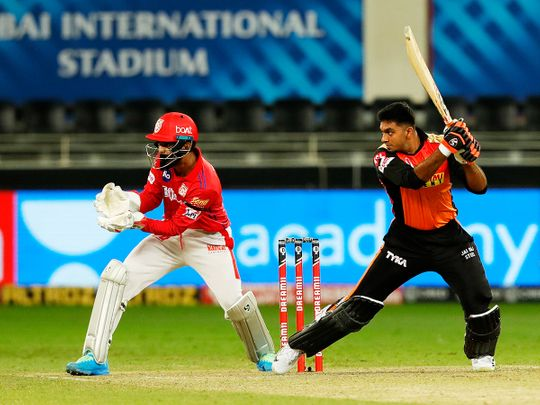 Vijay Shankar of Sunrisers Hyderabad plays a shot.