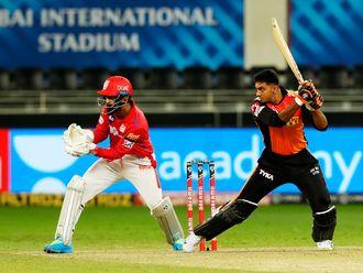 Vijay Shankar of Sunrisers Hyderabad plays a shot.