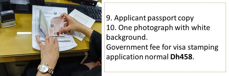 Government fee for visa stamping application normal Dh458.