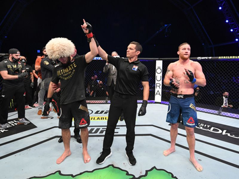 Khabib is declared the winner against Justin Gaethje