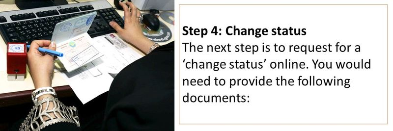 The next step is to request for a 'change status' online. You would need to provide the following documents: