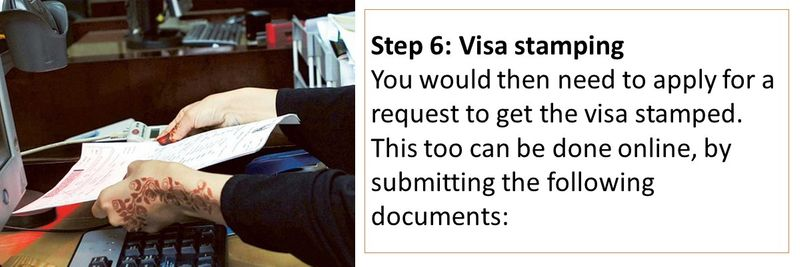 You would then need to apply for a request to get the visa stamped. This too can be done online, by submitting the following documents: