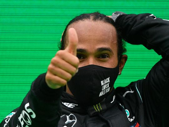 Lewis Hamilton celebrates in Portugal