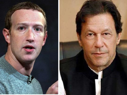 Pakistani Prime Minister Imran Khan (right) and Facebook CEO Mark Zuckerberg.