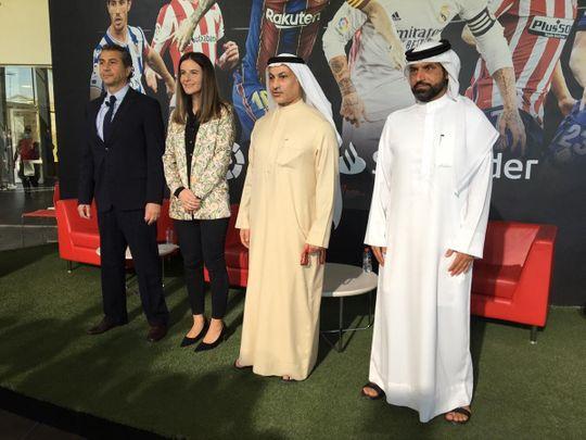 Saeed Hareb, General Secretary of Dubai Sports Council is joined by Khalid Al Zarooni, President, Dubai Sports City, Maite Ventura, Managing Director for La Liga in the MENA region and Hussein Murad, CEO, Inspiratus