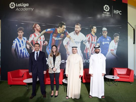 Saeed Hareb, General Secretary of Dubai Sports Council is joined by Khalid Al Zarooni, President, Dubai Sports City, Maite Ventura, Managing Director for La Liga in the MENA region and Hussein Murad, CEO, Inspiratus at the announcement of the new venture that promises to be a world-class destination for football development and entertainment in the UAE, and beyond.