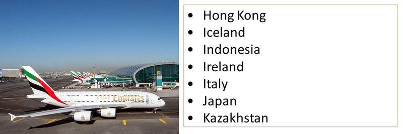 •Hong Kong •Iceland •Indonesia •Ireland •Italy •Japan •Kazakhstan