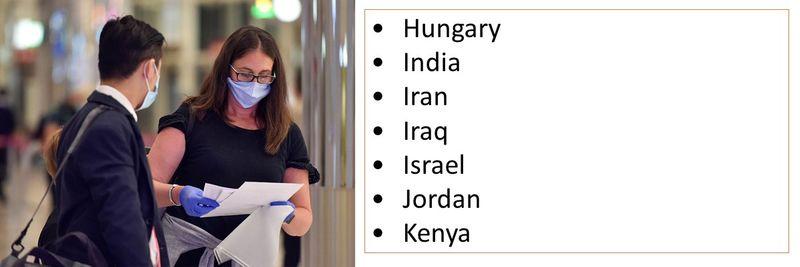 •Hungary •India •Iran •Iraq •Israel •Jordan •Kenya