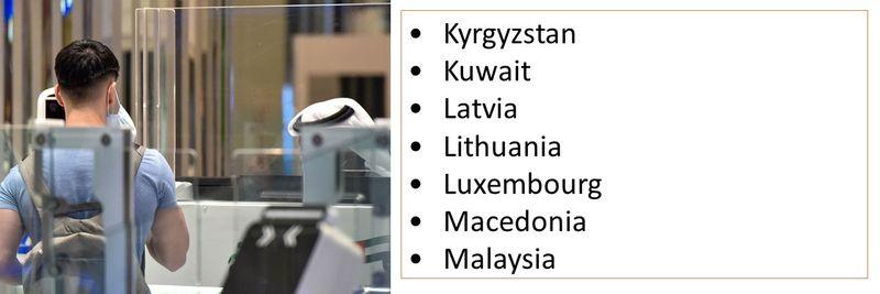 •Kyrgyzstan •Kuwait •Latvia •Lithuania •Luxembourg •Macedonia •Malaysia