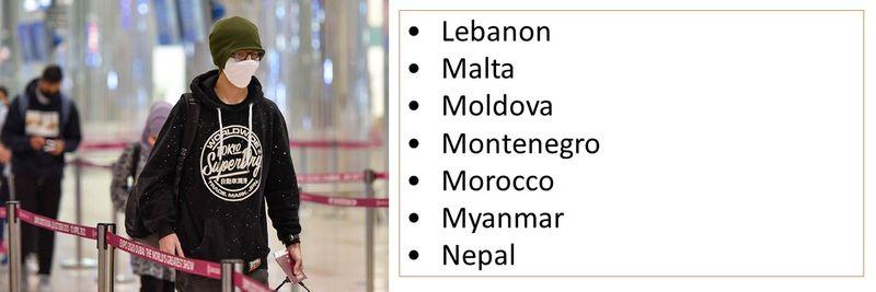 •Lebanon •Malta •Moldova •Montenegro •Morocco •Myanmar •Nepal