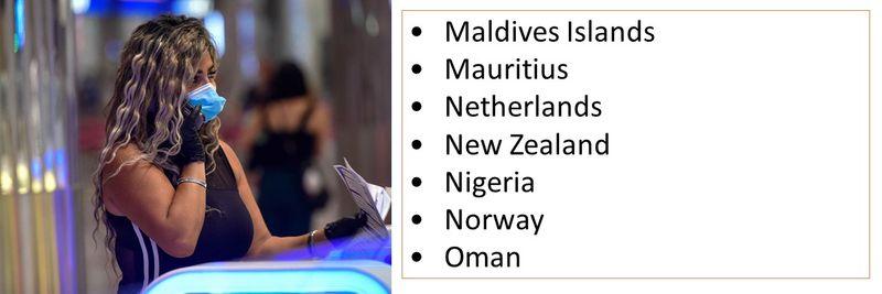 •Maldives Islands •Mauritius •Netherlands •New Zealand •Nigeria •Norway •Oman