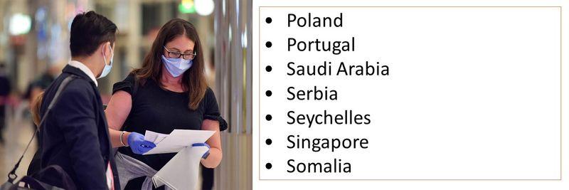 •Poland •Portugal •Saudi Arabia •Serbia •Seychelles •Singapore •Somalia