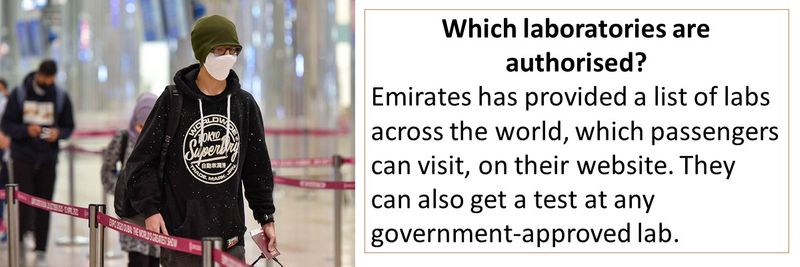 Emirates has provided a list of labs across the world, which passengers can visit, on their website. They can also get a test at any government-approved lab.