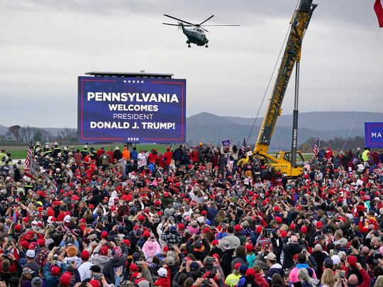 Marine One helictopter, with President Donald Trump Altoona-Blair County Airport Pennsylvania
