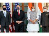 Mark Esper, US Secretary of State Michael Pompeo, Defence Minister Rajnath Singh and External Affairs Minister S Jaishankar