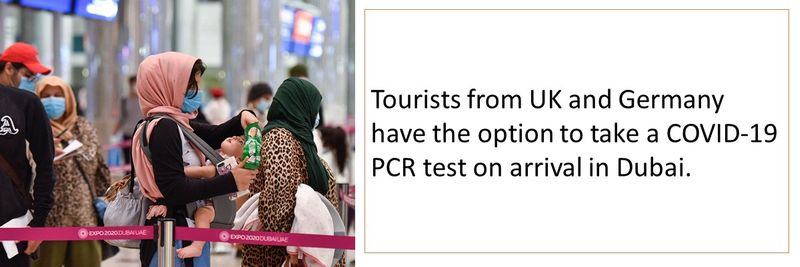 Tourists from UK and Germany have the option to take a COVID-19 PCR test on arrival in Dubai.