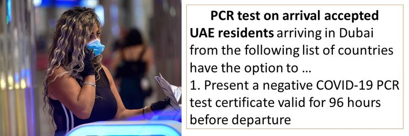 UAE residents arriving in Dubai from the following list of countries have the option to … 1. Present a negative COVID-19 PCR test certificate valid for 96 hours before departure