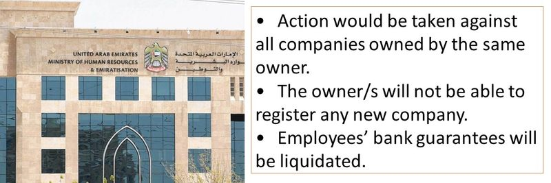 •	Action would be taken against all companies owned by the same owner. •	The owner/s will not be able to register any new company. •	Employees' bank guarantees will be liquidated.
