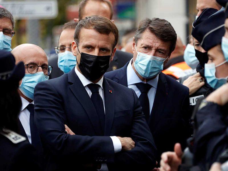 Emmanuel Macron, and Nice mayor Christian Estrosi FRance knife attack