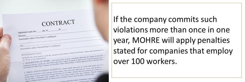 If the company commits such violations more than once in one year, MOHRE will apply penalties stated for companies that employ over 100 workers.
