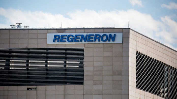 Regeneron Pharmaceuticals signage displayed outside their headquarters in Tarrytown, NY.