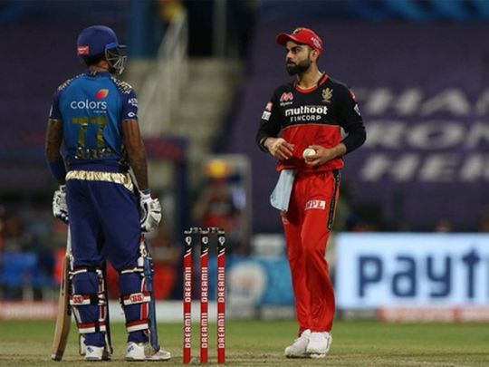 Suryakumar Yadav stares down Virat Kohli in the Mumbai Indians v Royal Challengers Bangalore match in Abu Dhabi