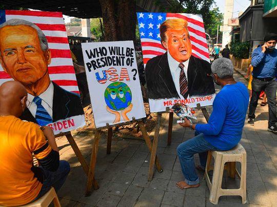 Trump Biden art teachers Mumbai India