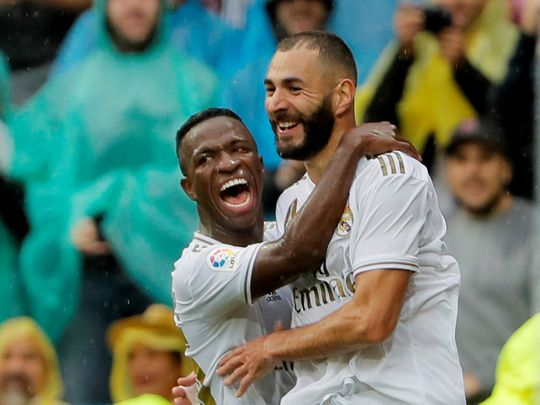 Real Madrid's Karim Benzema and Vinicius Jr