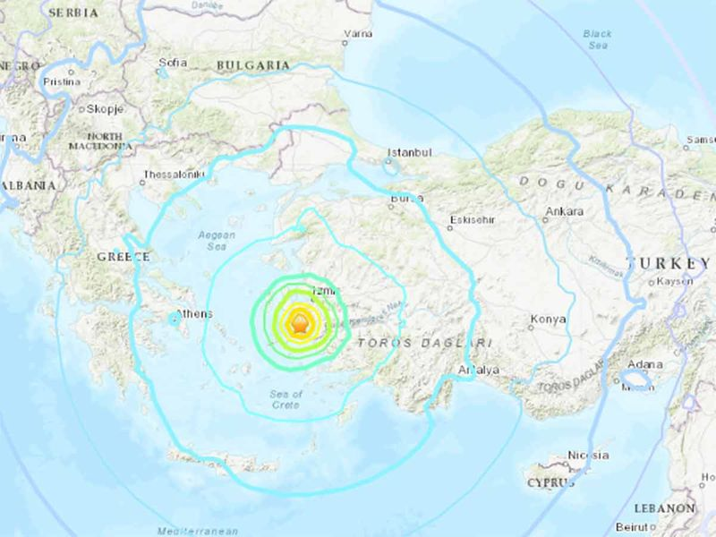 The epicenter of the Magnitude 7 quake that hit off Turkey on Friday.