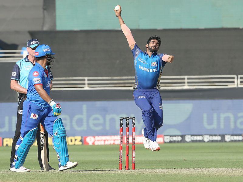 Jasprit Bumrah of Mumbai Indians bowls.