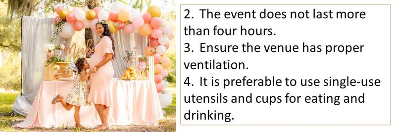 2.The event does not last more than four hours. 3.Ensure the venue has proper ventilation. 4.It is preferable to use single-use utensils and cups for eating and drinking.