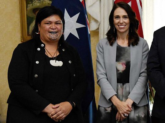 New Zealand's Prime Minister Jacinda Ardern (R) and New Zealand's then-Minister of Maori Development and Local Government (L) Nanaia Mahuta