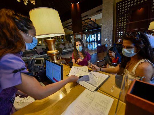 Stock Dubai hotel tourists tourism economy