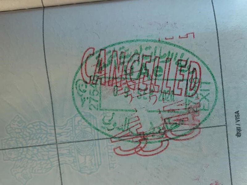 Cancelled immigration stamp