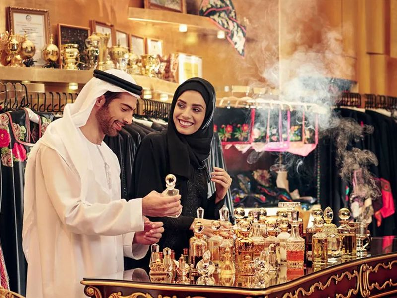 Deira's Perfume Souk on Sikkat Al Khali Street.