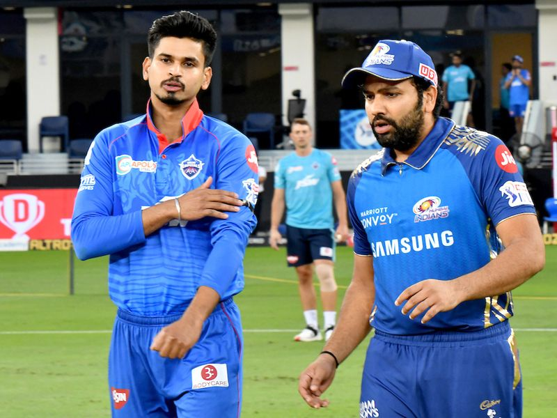 DC captain Shreyas Iyer (left) with MI skipper Rohith Sharma