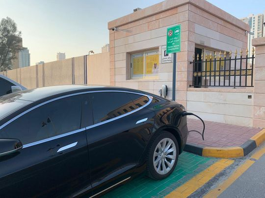 The electric car charging area