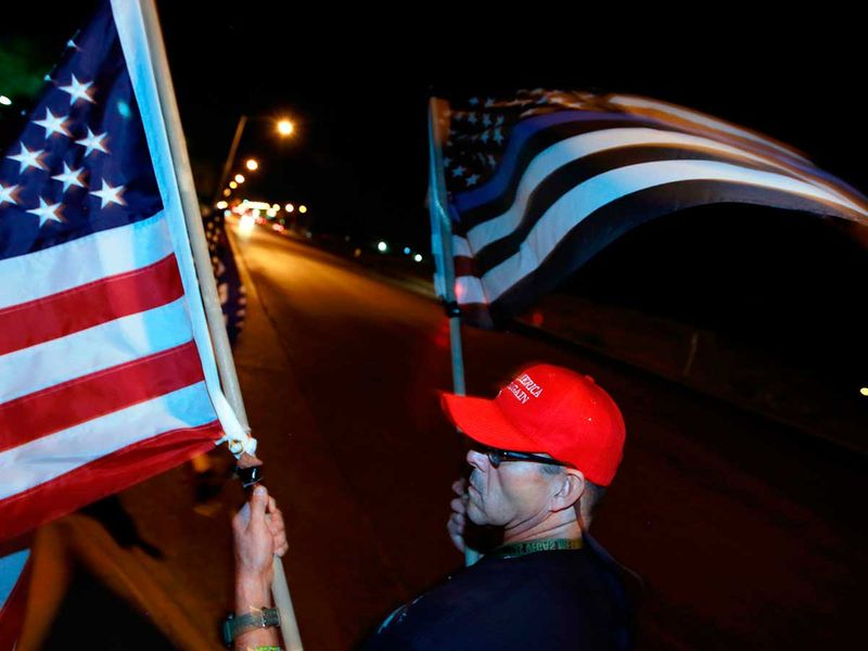 US flag Trump supporter