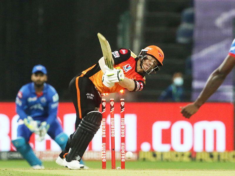 David Warner of Sunrisers Hyderabad is clean bowled by Kagiso Rabada