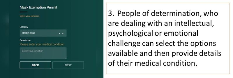 3.People of determination, who are dealing with an intellectual, psychological or emotional challenge can select the options available and then provide details of their medical condition.