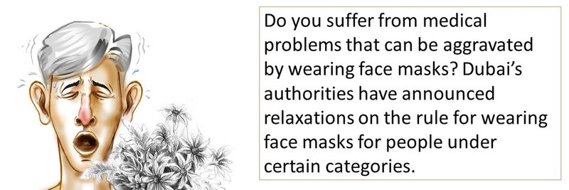 Do you suffer from medical problems that can be aggravated by wearing face masks? Dubai's authorities have announced relaxations on the rule for wearing face masks for people under certain categories.